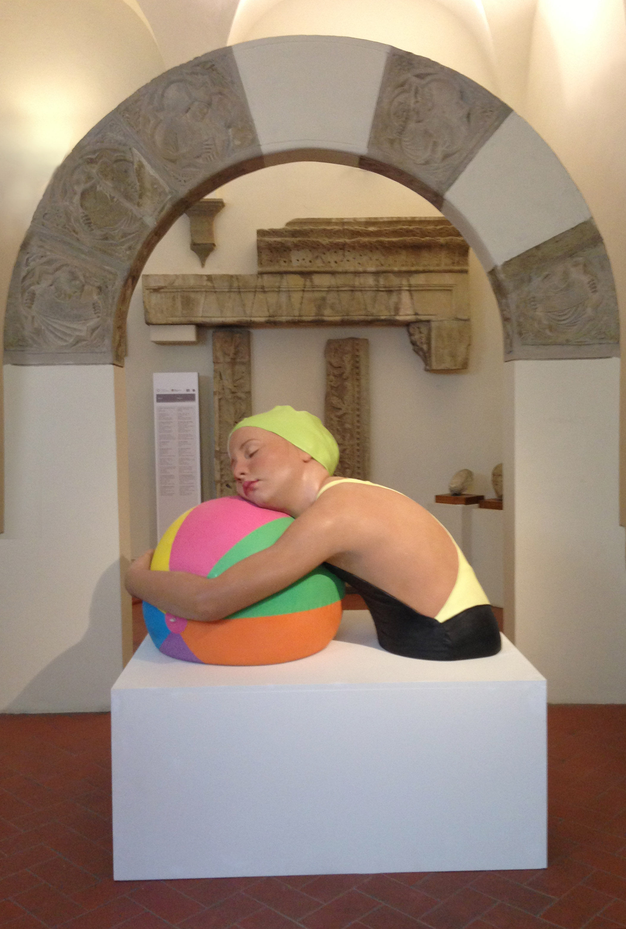 Monumental Brooke with Beach Ball by Carole Feuerman